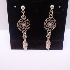 Dreamcatcher Earrings with Dangle Feathers
